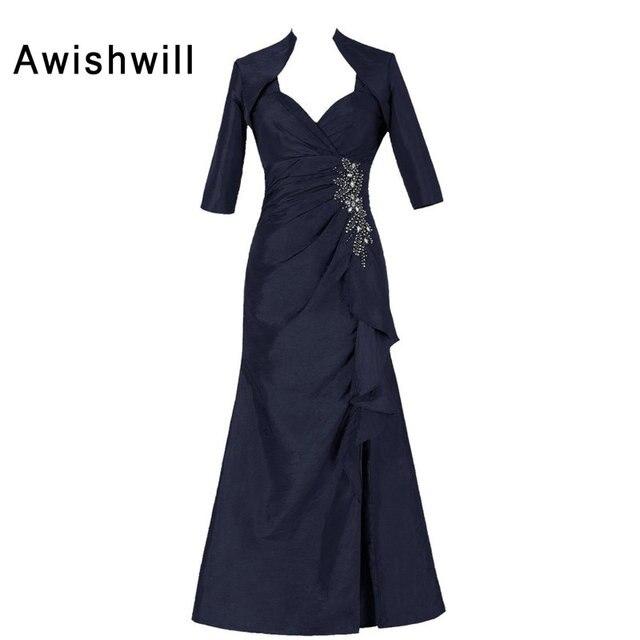 Custom Plus Size Mother Of Groom Dress Beaded Taffeta Floor Length