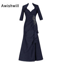 Custom Plus Size Mother of Groom Dress Beaded Taffeta Floor Length Trumpet Modest Mother of The Bride Dresses With Jacket