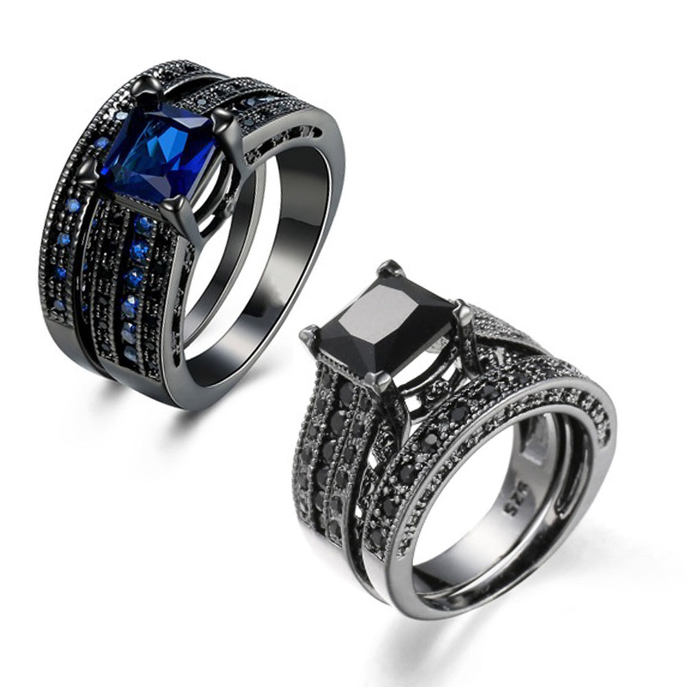 2pcssets Fashion Black Gold Rings Elegant Temperament Fashion Jewelry Bijoux For Women Man Wholesale