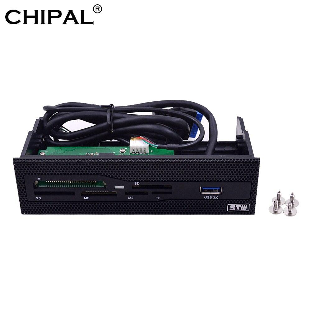 Chipal painel frontal multifuncional usb 5.25, painel frontal de 3.0 polegadas leitor de cartão sd ms m2 cf xd tf para pc desktop CD-ROM DVD-ROM odd