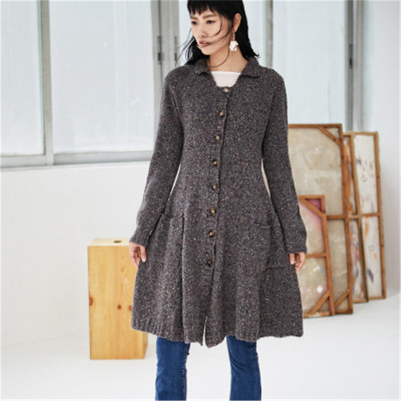 100%hand Made Pure Wool Turn-down Collar Knit Women Fashion Solid Loose Single Breasted Long Cardigan Sweater One&over Size