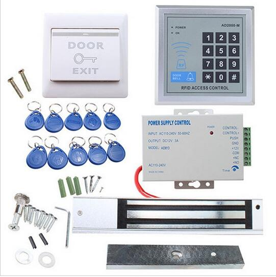ФОТО 180kg RFID Access Control System Kit Glass Door Set+Electric magnetic Door Lock+10 pcs ID Card Keytab+Power Supplier+Exit Button