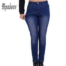 НОВЫЙ плюс размер 32-42 Джинсы Женские брюки джинсовые Брюки Карандаш осень зима большой Упругой высокой талии бархатные толстые теплые джинсы