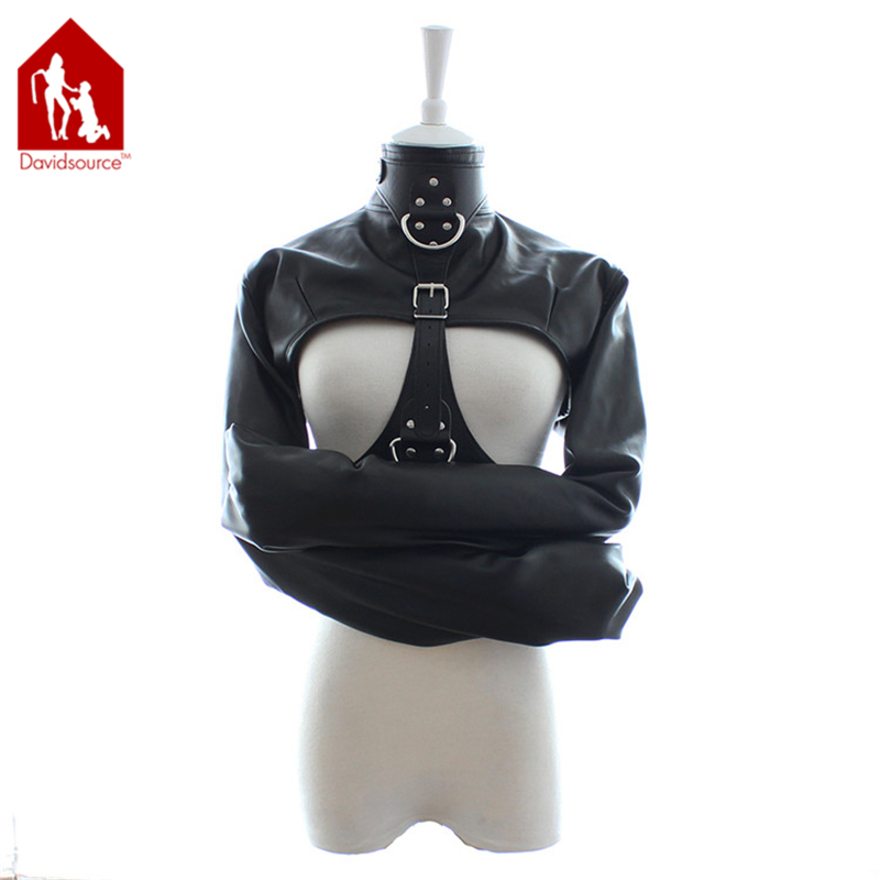 ФОТО Davidsource High Collar Arms Restraint Jacket With Pulling Ring Breast Holder  Bondage Binding Kit Leather Harness