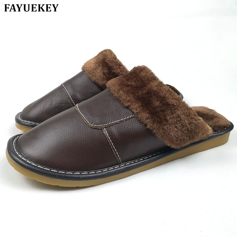 FAYUEKEY New Fashion Winter Leather Home Slippers Men Indoor Floor Outdoor Slippers Warm Cotton Plush Non-slip Flat Shoes MJ-005 xiuteng 2017 summer leather men slippers home indoor flat with shoes european high grade non slip floor sandals for men