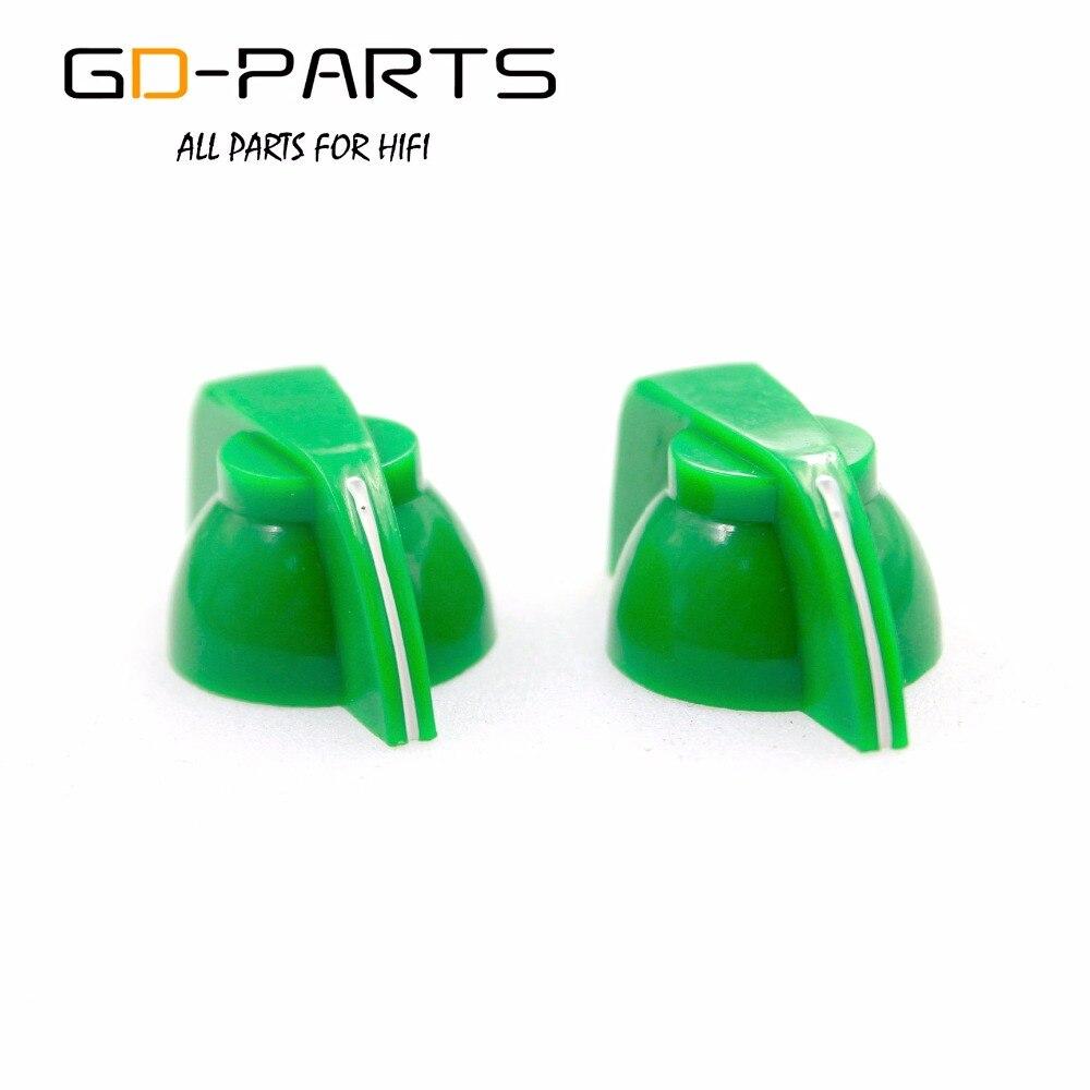 GD-части Зеленый ABS Пластик Куриные головы ручка для Гитары AMP эффект кабинет педали Stomp окно Винтаж Радио 1/4 латунь вал отверстие