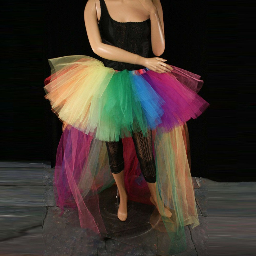 Rainbow Hi Low Tulle Skirt Asymmetrical Puffy Long Cocktail Tutu Prom Party Skirt Saia Hippie Style Ball Gown Hi Low Costume
