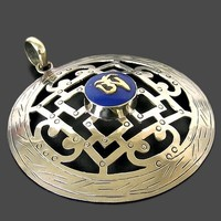 Master Design Silver Plated Inlaid Lapis Buddhist Word Pendant From Nepal