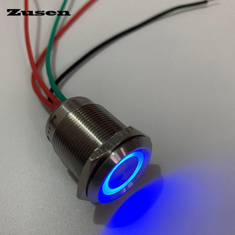 Zusen 22 millimetri di tocco interruttore on/off di tipo con fili interruttore di pulsante con 6-24 V led IP67Zusen 22 millimetri di tocco interruttore on/off di tipo con fili interruttore di pulsante con 6-24 V led IP67
