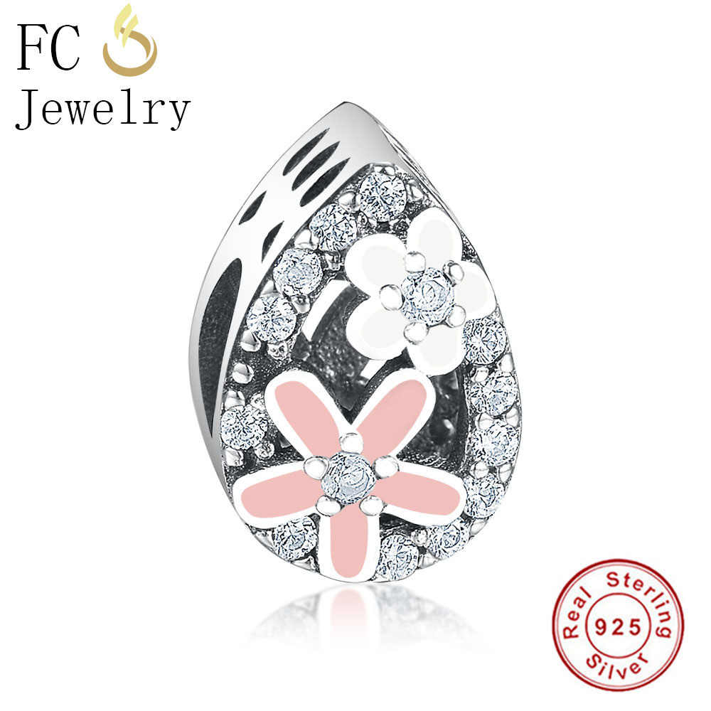 FC Jewelry Fit Original Pandora Charms Bracelets 925 Sterling Silver Flower Pink Enamel Daisy CZ Stone Bead For Making Berloque