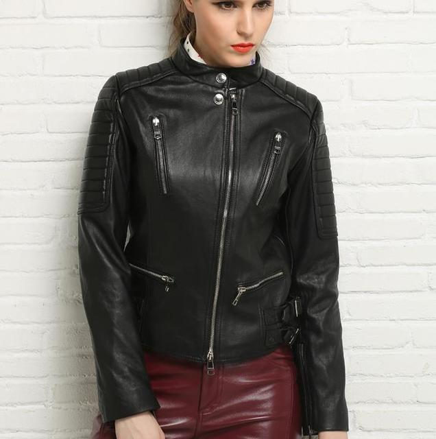 Spring black stand collar motorcycle genuine leather jacket womens sheepskin jackets and coats slim oblique zipper short clothes