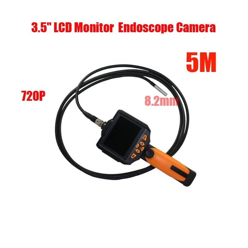 "Free shipping 6 LED 8.2mm 5M 1280*720P HD Handheld Flex Endoscope Camera 3.5"" LCD Monitor LED Flashlight Waterproof Tube"