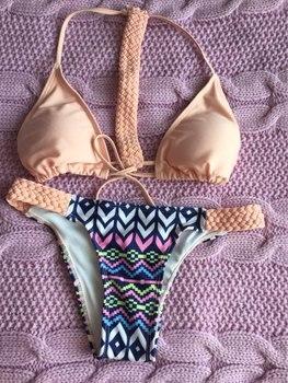 Solid woven Swimwear Bandage Bikini Sexy beach Swimwear Women Swimsuit Bathing Suit Brazilian Bikini Set maillot de bain E140 4