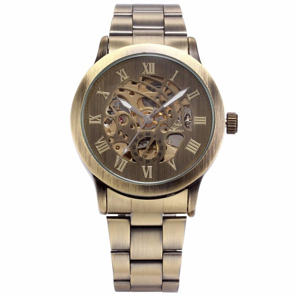 Image 2 - SHENHUA Роскошные брендовые бронзовые Мужские механические часы с скелетом, мужские часы с ремешком из нержавеющей стали, модные повседневные автоматические часы-in Механические часы from Ручные часы on AliExpress - 11.11_Double 11_Singles' Day