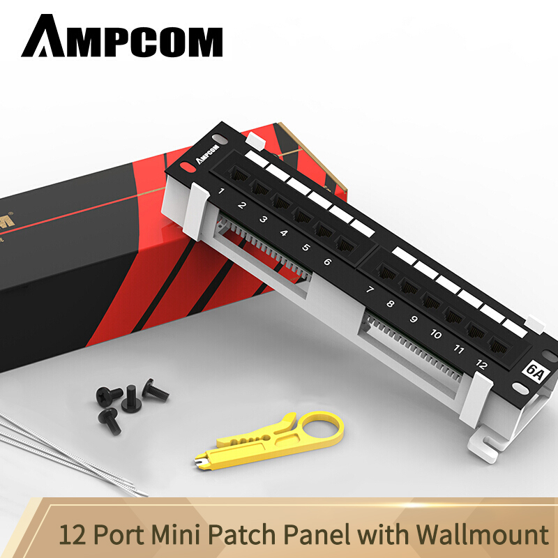 AMPCOM 12-портовая Cat6A/Cat6/Cat5E UTP мини патч-панель с настенным кронштейном в комплекте черный