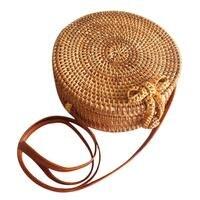 Bohemia Style Handmade Vintage Fashionable Rattan Straw Woven Bag Natural Round Bow Beach Bag Home Storage Bag For Women