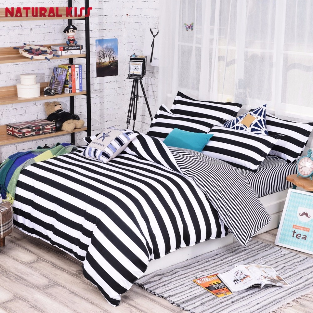 Black and white striped bed sheets - Newest Black And White Stripes Geometric Pattern Polyester Bedding Sets Hot Sales Duvet Cover Set Bed