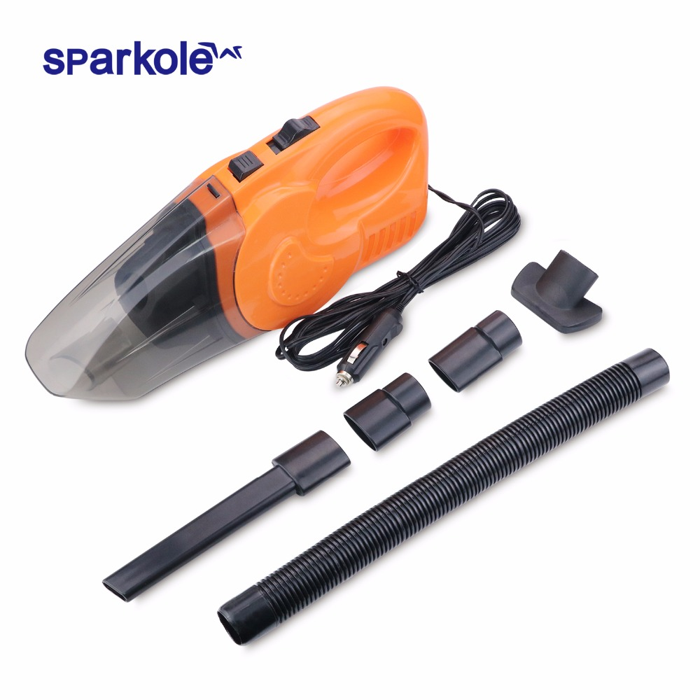 Sparkole Vehicle Car Vacuum Cleaner Use Auto Cigarette Lighter with Super Suction 120W 12V Portable Wet And Dry Dual Type 12v 120w car vacuum cleaner wet and dry auto cleaning tool