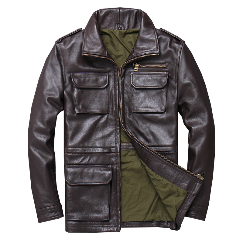 Jacket Brown XXXXXL Cowhide Genuine Casual M65 Thick American Spring Slim Coat Natural