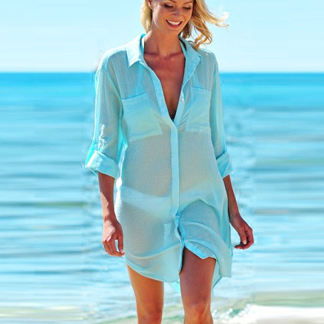 2019 Solid Women Swimwear Beach Cover Up Perspective Beach Dress Kaftan Beach Wear Blouse Shirts Pareos De Playa Saida De Praia 3