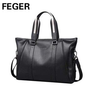 Image 3 - Повседневная Сумка тоут, мужская сумка через плечо, портфель для ноутбука, мужская из искусственной кожи сумка, брендовая деловая ручная сумка, мужские сумки, сумки FEGER