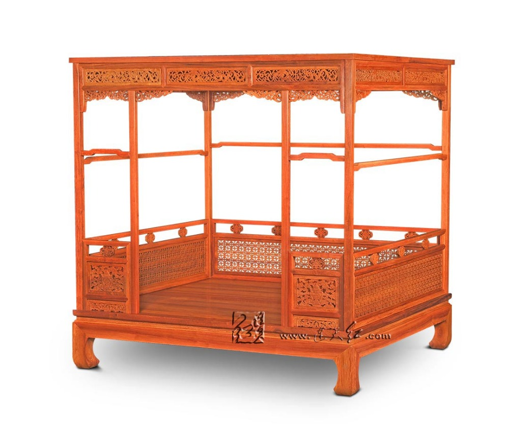 Chinese Classical Canopy bed Queen storage full double Bed Frame Pencil Post bed Solie Wood Bedroom furniture Luxury bedstead