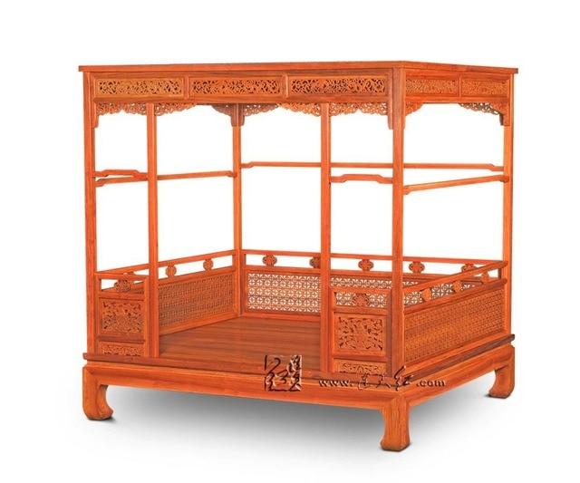 Chino clásico Canopy cama almacenamiento completo cama doble marco ...