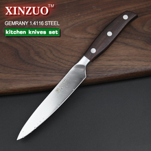 XINZUO kitchen tools 6 PCs kitchen knife set utility cleaver Chef bread knife stainless steel Kitchen Knife sets free shipping