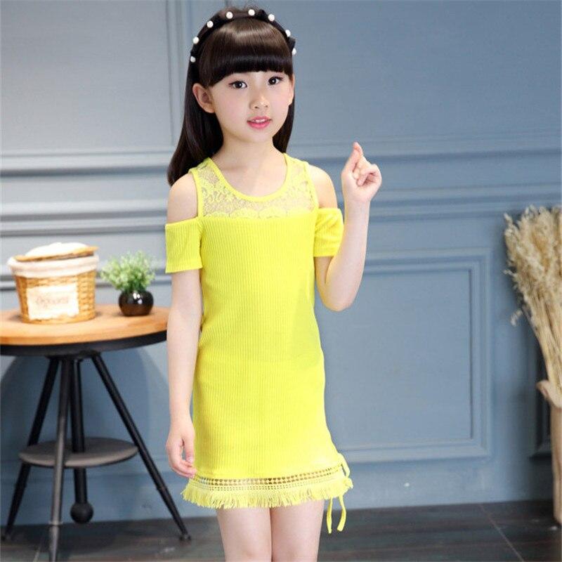 c344f0b6e8 Marka 4-14Y Dorywczo Dziewczyny Ubierają Dzieci Ubrania Letnie O-Neck Lace  Patchwork Dzieci Party Sukienki dla Dziewczynek Nowy Infantil Odzież