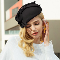 Wool Fascinator Pillbox Hat Elegant Women Wedding Hats Black Blue Red Lady Bowknot Kentucky Derby Felt Fedoras Chapeau