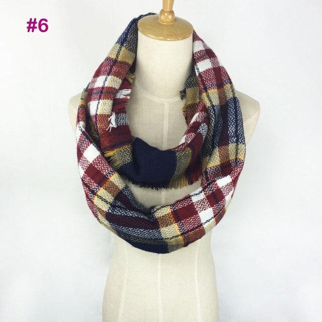 51fac2704 Knitted Tartan Infinity Scarf Winter Blanket Shawl Women Grid Check Loop  Bandana New Designer Acrylic Winter Plaid Snood Scarves