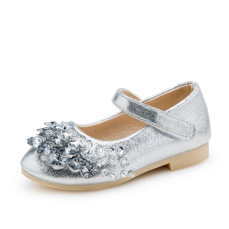 Girls Shoes 2017 New Autumn Rhinestones Spring Fashion Childrens Princess shoes PU Leather for Kids Casual shoe EU 26~36
