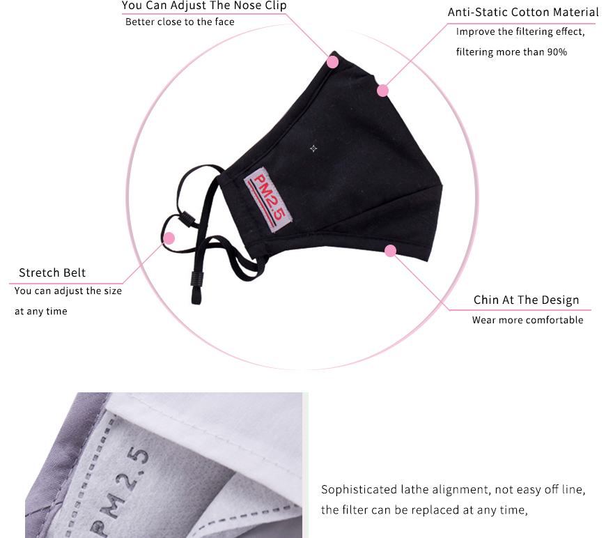 Personal Health Care Sporting Moledodo Adult Pink Mouth Mask Pm2.5 Dust Face Mask Anti-fumes Black Cotton Mouth Mask Send 4pcs Filters D50 Back To Search Resultsbeauty & Health