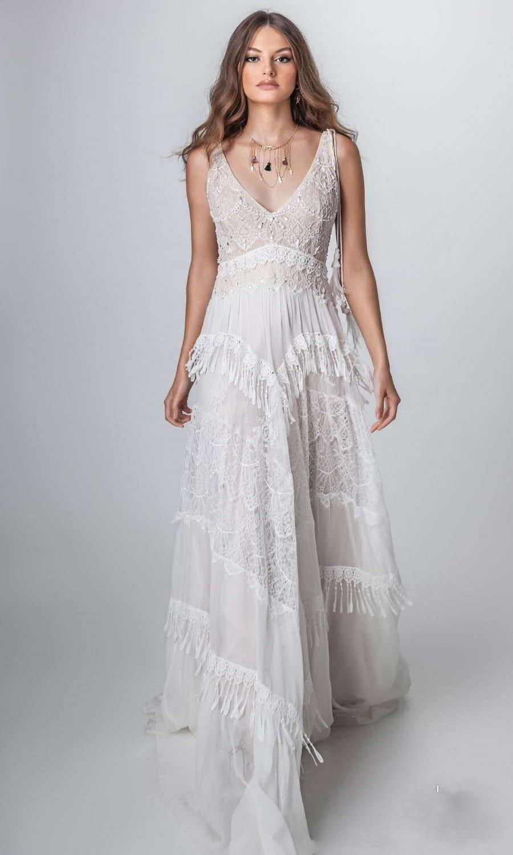 716171807b 2019 Vintage Lace Bohemia Beach Wedding Dress Sexy V Neck Backless Vestido  De Noiva Chiffon B Wedding Dresses ~ Best Deal July 2019