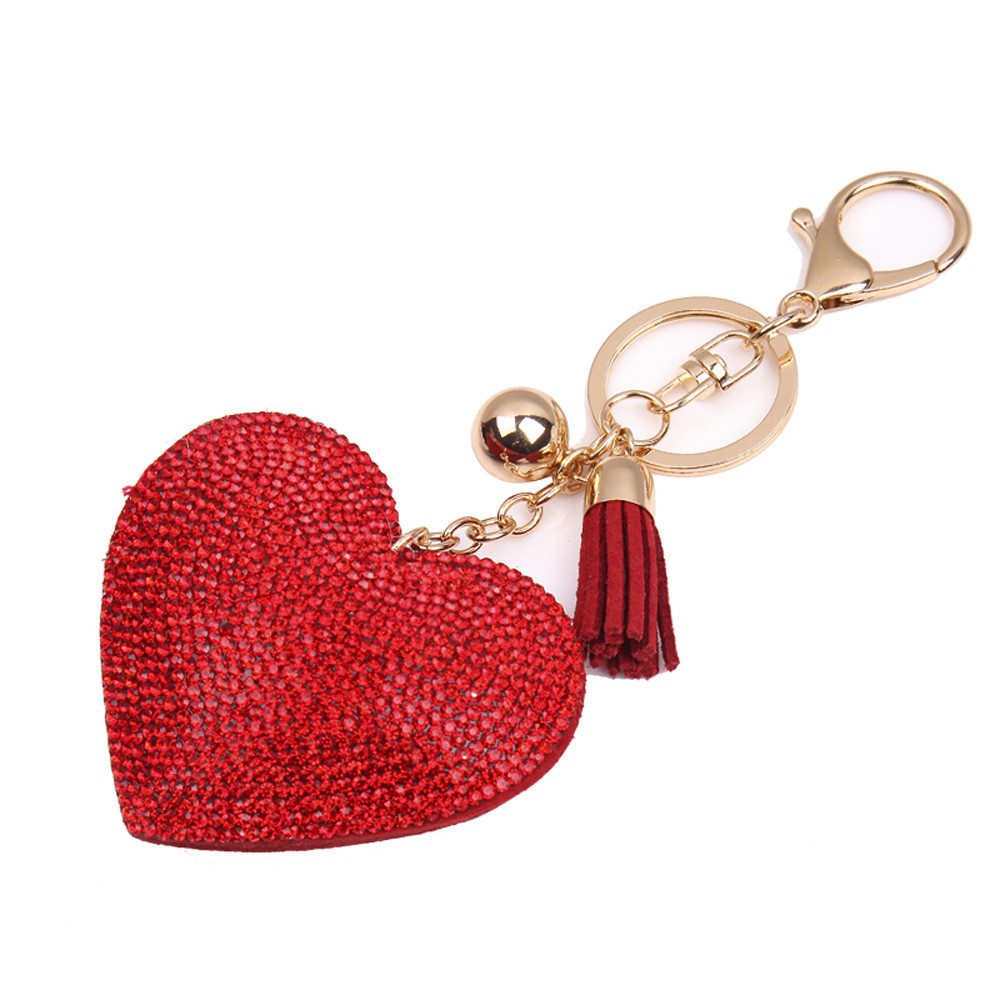 Starry Styling Fashion Love Rhinestone Tassel Keychain FOR Bag Handbag Key Ring Car Key Pendant Delicate