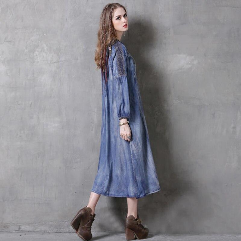 Abiti Vintage V Donne Con A Maniche Autunno Lunghe 2018 Merletto Scollo Denim Blu Del Primavera Rappezzatura Dress New A037 Monopetto f6xnYYvS