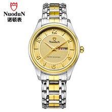 Regalo de cumpleaños Para Hombre del Día de San Valentín Nuodun Hombres de Moda Reloj de Cuarzo de Acero Inoxidable Reloj Impermeable Reloj Casual