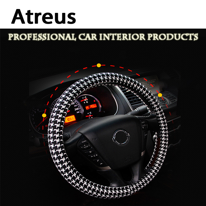 Atreus for BMW e46 e39 e60 e90 e36 Mini cooper Audi a4 b6 a3 a6 c5 b8 b7 Car steering wheel cover Houndstooth Fashion Accessorie