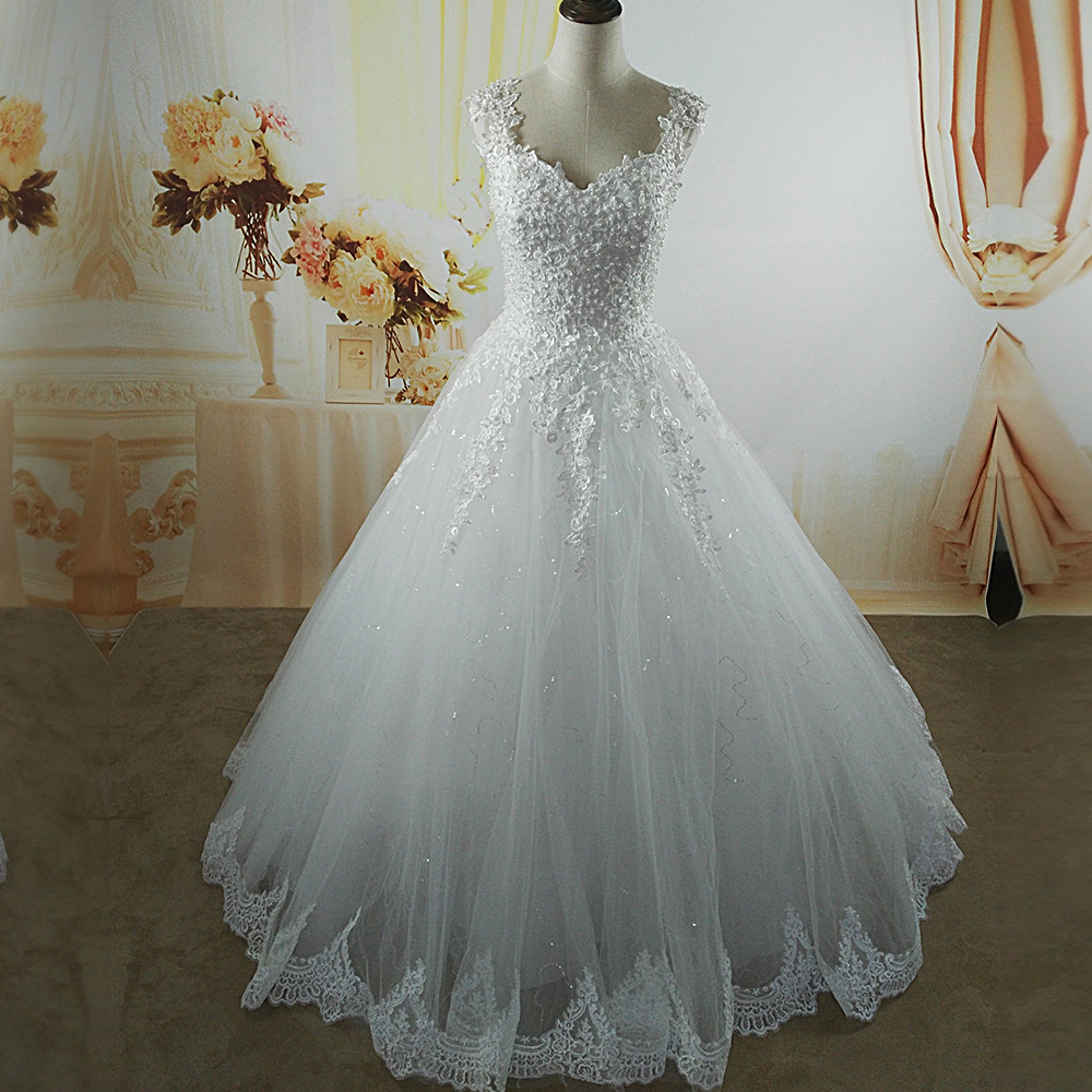ZJ9076 C 2016 2017 White Ivory pearls Wedding Dresses with lace bottom for brides dress plus