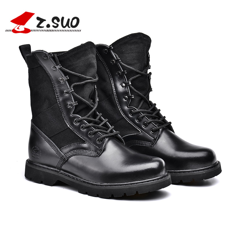 Z.Suo Fashion Mens Leather Tactical Combat Military Boots Man Working Army War Desert Botas Men Tooling Mid Calf Boots ZS988H