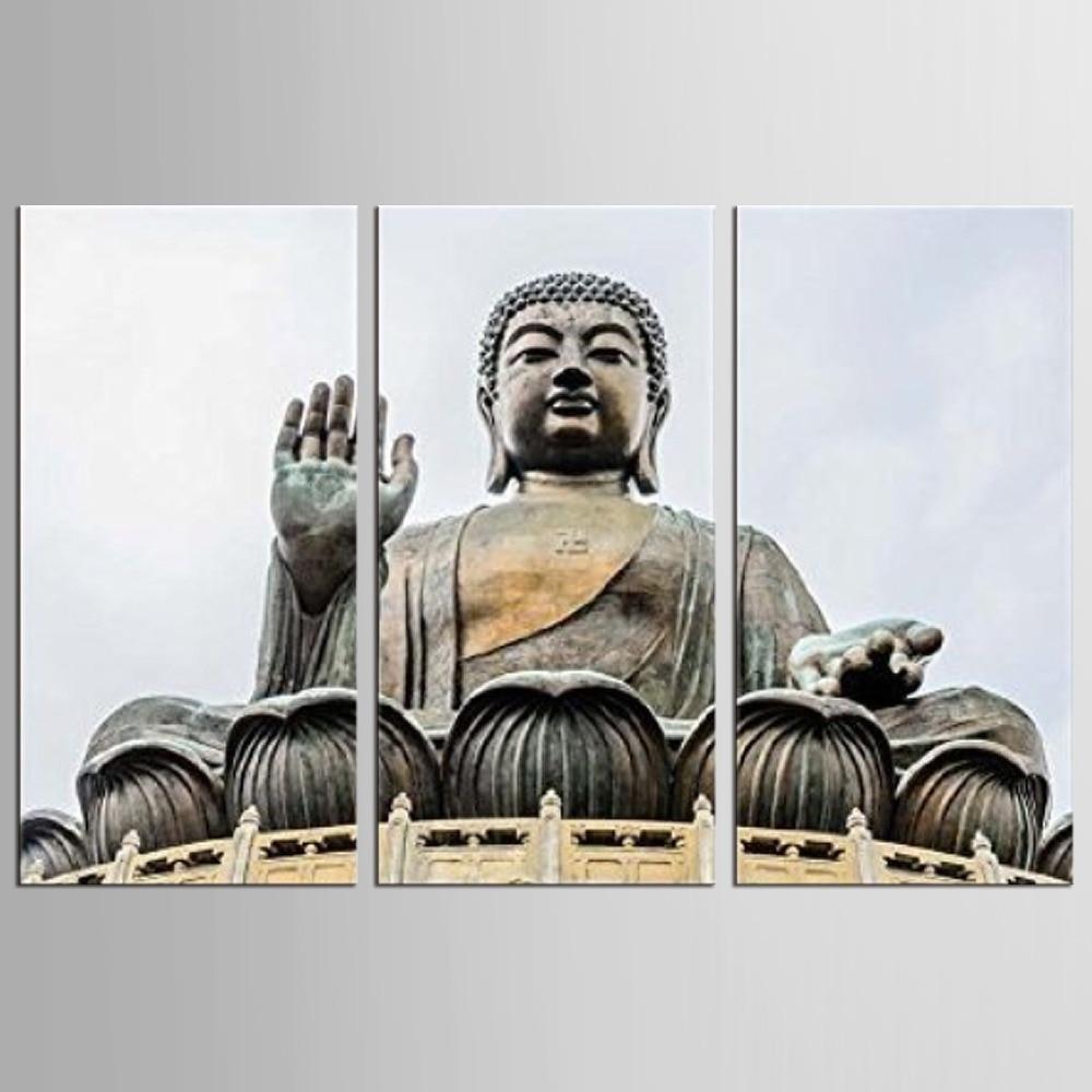 3 Panel Buddha Statue Abstrakte Wandkunst Bild Moderne Dekoration Wohnzimmer Oder Schlafzimmer Leinwand Drucken