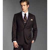 Custom Made Black Groomsmen Notch Lapel Groom Tuxedos Chocolate Mens Suits Wedding Suits Best Man (Jacket+Pants)
