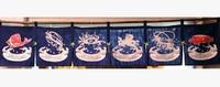 Free Shipping Korean Japanese Style Restaurant Kitchen Hanging 6 Combine Linen Curtain Sea Food Measurement 210x40cm