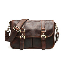 Nesitu Vintage Chocolate Color Real Skin Genuine Leather Cowhide Cross Body Men Messenger Bags #M542