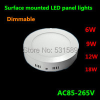 Dimmable 6w12w18w Surface mounted led downlight Round panel light smd Ultra thin circle ceiling Down lamp kitchen Bathroom lamp