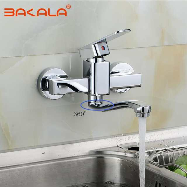 BAKALA Wall Mounted Kitchen Faucet Single Handle Kitchen Mixer Taps Dual  Holes Hot and Cold Water Tap 360 Degree Rotation
