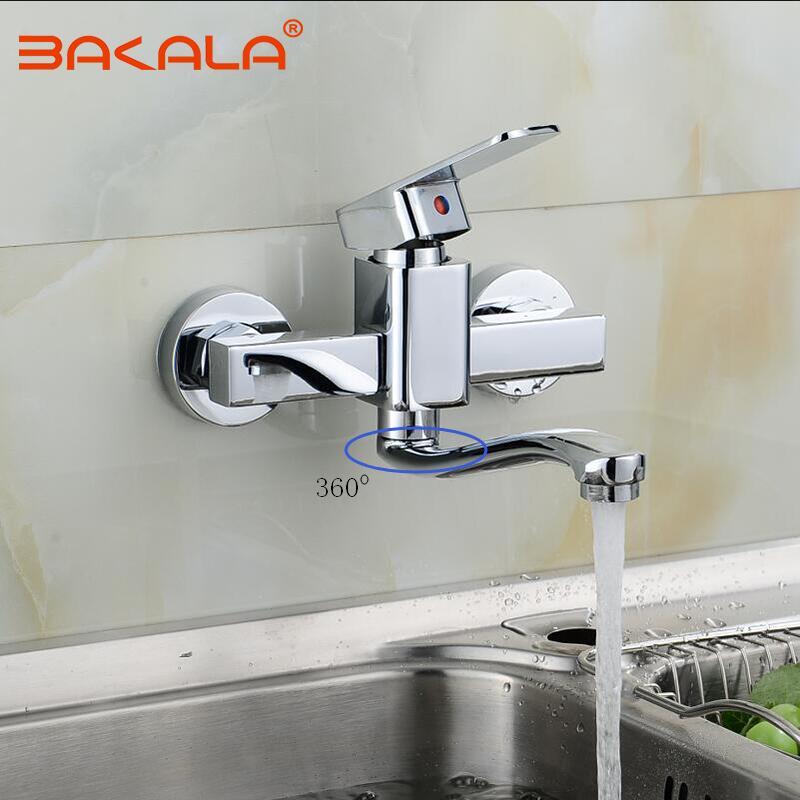 BAKALA robinet de cuisine mural mitigeur de cuisine robinets double trous robinet d'eau chaude et froide 360 degrés de Rotation
