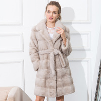 CNEGOVIK NEW FASHIOH Women Mink Coat Real Mink Coat Suit Collar With A Belt