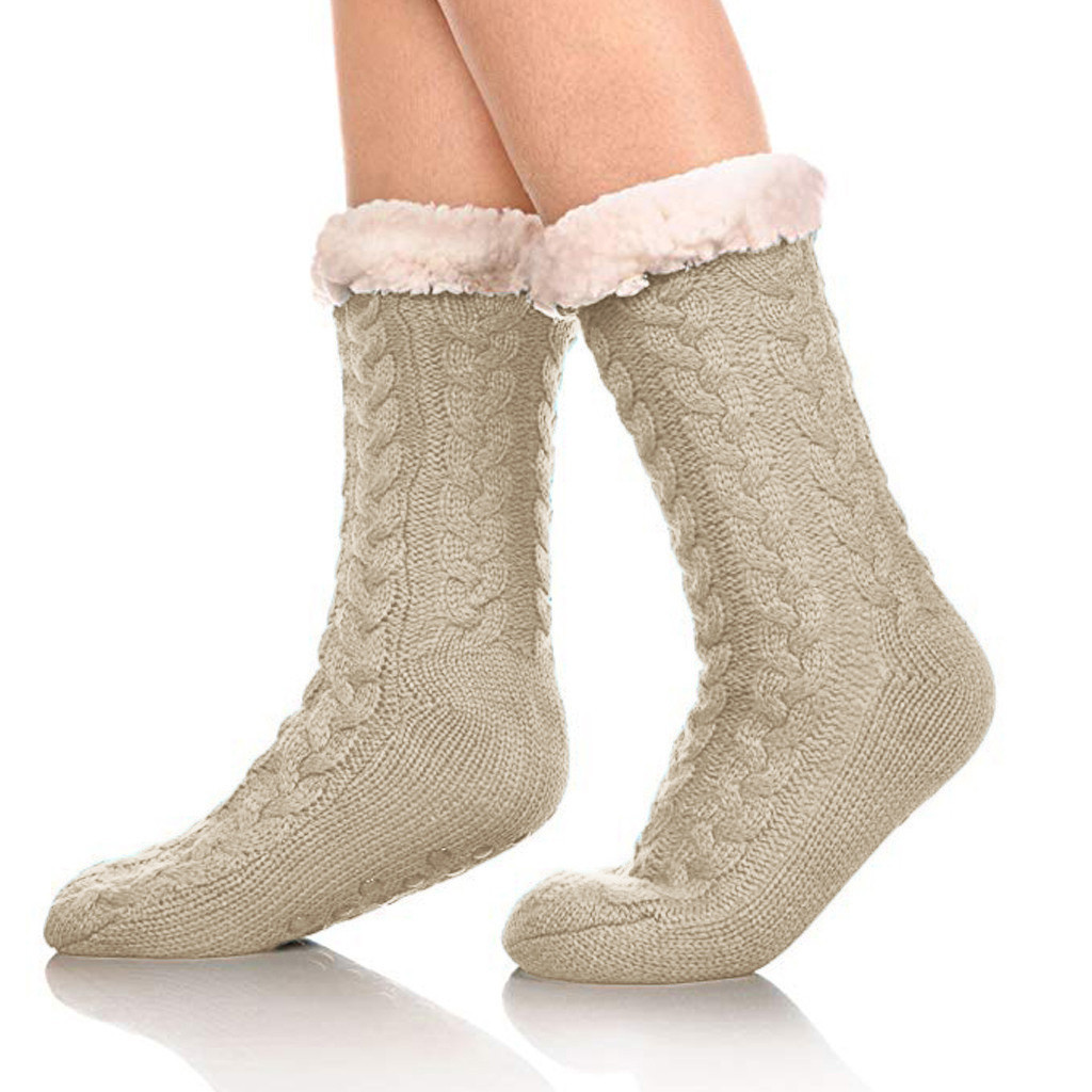 Tenrry 1 Pair Women Lady Indoor Knit Socks Warm Thicken Cozy Anti-Slip for Winter Home