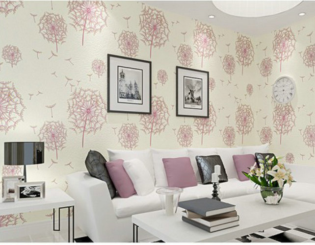 Aliexpress Com Buy Modern Rustic Romantic Pink Dandelion 3d Beige Wallpaper Decorated Living Room And Bedroom Wall Mural Wallpaper Desktop 41292 From